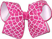 Shocking Pink and White Large Double Layer Bow