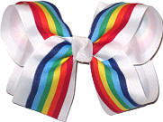 Rainbow Stripe over White Large Double Layer Bow