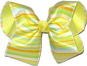 Yellow Orange and Light Blue over Baby Maize Large Double Layer Bow