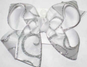 Chiffon with Silver Glitter Swirl over White Large Double Layer Bow