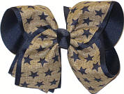Dark Khaki Canvas with Navy Stars over Navy MEGA Extra Large Double Layer Bow