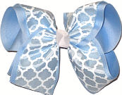 Light Blue and White Over Millenium Blue MEGA Extra Large Double Layer Bow