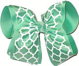 Mint and White MEGA Extra Large Double Layer Bow