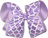 Light Orchid and White Over Lavender MEGA Extra Large Double Layer Bow