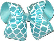 Aqua and White Large Double Layer Bow