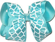 Aqua and White MEGA Extra Large Double Layer Bow