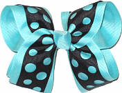 Black Die Cut over Aqua Large Double Layer Bow