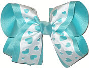 White over Aqua Large Double Layer Bow