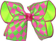 Pink and Green over Neon Lime Large Double Layer Bow
