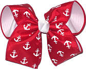 Red with White Anchors over White Large Double Layer Bow