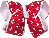Red with White Anchors over White MEGA Extra Large Double Layer Bow