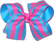 Shocking Pink and Turquoise Large Double Layer Bow