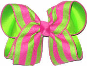 Neon Green and Shocking Pink Large Double Layer Bow