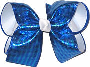 Blue Metallic over White Large Double Layer Bow