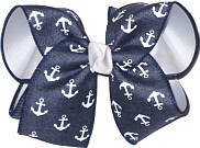 Denim with White Anchors over White Large Double Layer Bow
