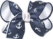 denim with White Anchors over White Medium Double Layer Bow
