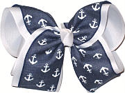 denim with White Anchors over White MEGA Extra Large Double Layer Bow