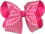 Shocking Pink and White Houndstooth over Shocking Pink  Large Double Layer Bow