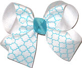 Navajo Turquoise and White Medium Double Layer Bow