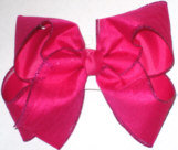 Glitter Chiffon over Shocking Pink Large Double Layer Bow