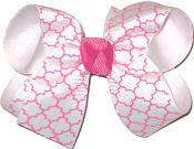 Hot Pink and White Medium Double Layer Bow