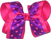 Purple with Shocking Pink Dots over Shocking Pink Large Double Layer Bow