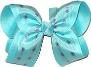 satin Peakcock Print over Navajo Turquosie Large Double Layer Bow
