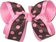 Brown with Pink Dots over Pink Large Double Layer Bow