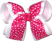 Shocking Pink with White Dots over White Large Double Layer Bow