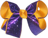 Purple Glitter over Yellow Gold Grosgrain Medium Double Layer Bow
