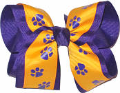 Regal Purple and Yellow Gold over Regal Purple Large Double Layer Bow