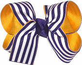 Regal Purple and White over Yellow Gold Medium Double Layer Bow