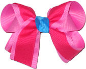 Pixie Pink and Sarsaparilla with Island Blue Knot Medium Double Layer Bow
