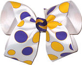White with Large Purple and Yellow Gold Dots over White Grosgrain Large Double Layer Bow