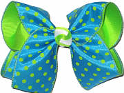 Turquoise with Green Dots over Green Large Double Layer Bow