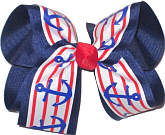 Red White and Blue Anchor over Navy Large Double Layer Bow