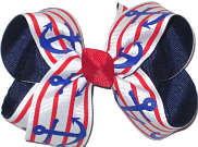 Blue Anchors with Red and Red Stripes over Navy Medium Double Layer Bow
