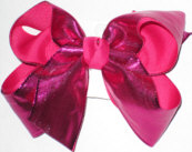 Shocking Pink Metallic/Hot Pink Large Double Layer Bow