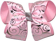 Silver and Light Pink over Light Pink Large Double Layer Bow