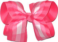 Pink and White over Watermelon Large Double Layer Bow