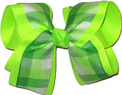 Green and White over Neon Lime Large Double Layer Bow