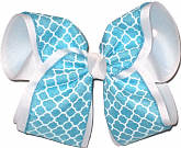 Turquoise and White MEGA Extra Large Double Layer Bow