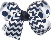 Navy and White with Navy and White Dots Medium Double Layer Bow