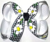 Black and White with Daisys over White Large Double Layer Bow