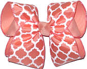 Coral and White over Coral Large Double Layer Bow