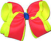 Electric Pink Over Neon Yellow with Electric Blue Knot MEGA Extra Large Double Layer Bow