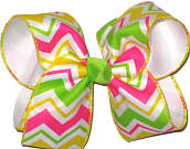 Shocking Pink White Yellow Green over White Large Double Layer Bow
