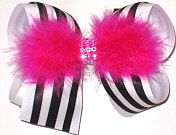 Navy and White with Jeweled Center and Shocking Pink Feathers Large Double Layer Bow