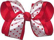 White with Red Dots over Red Large Double Layer Bow