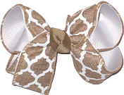 Khaki and White Medium Double Layer Bow